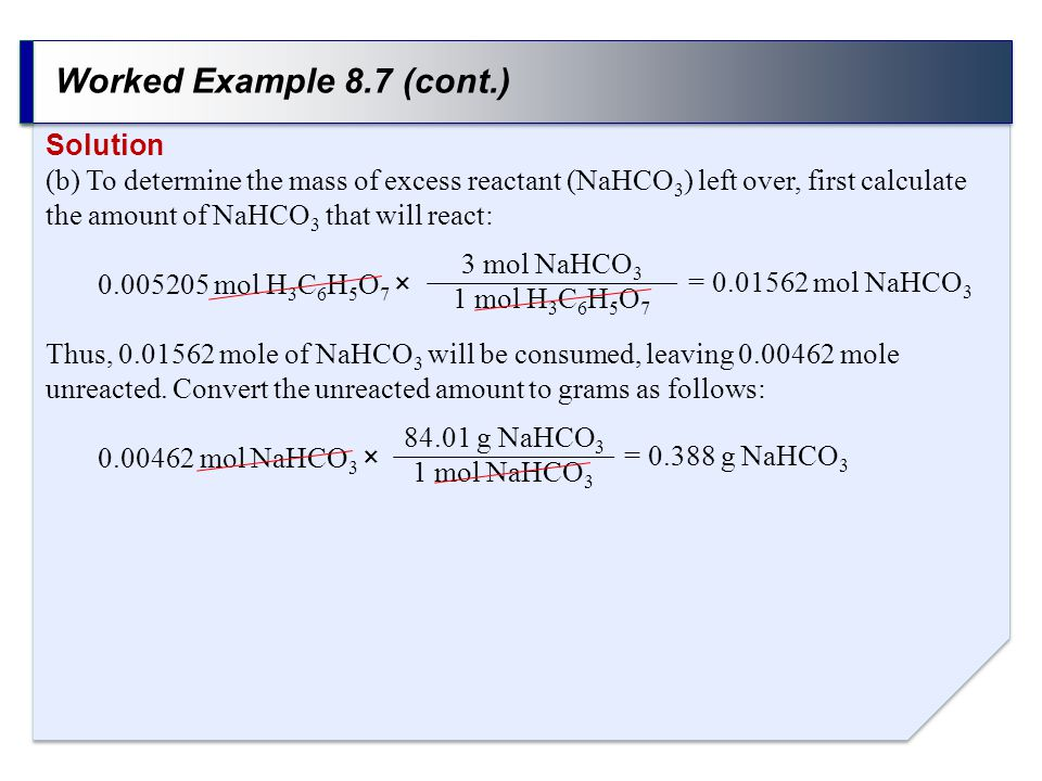 Worked Example 8.7 (cont.) Solution