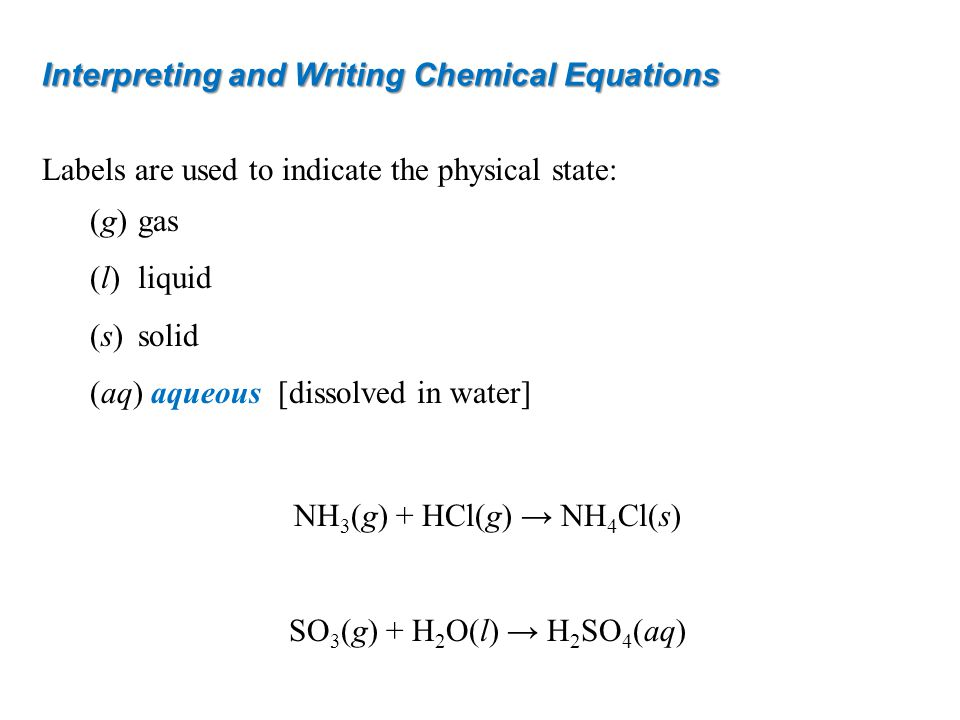 Interpreting and Writing Chemical Equations