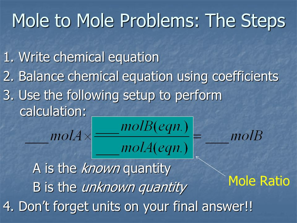 Mole to Mole Problems: The Steps