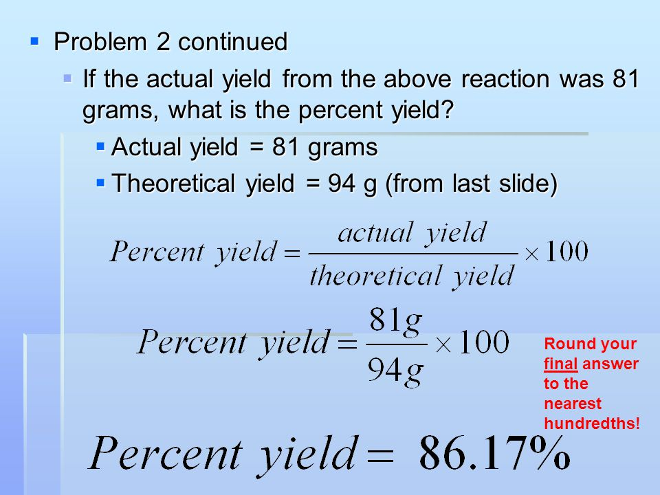 Theoretical yield = 94 g (from last slide)