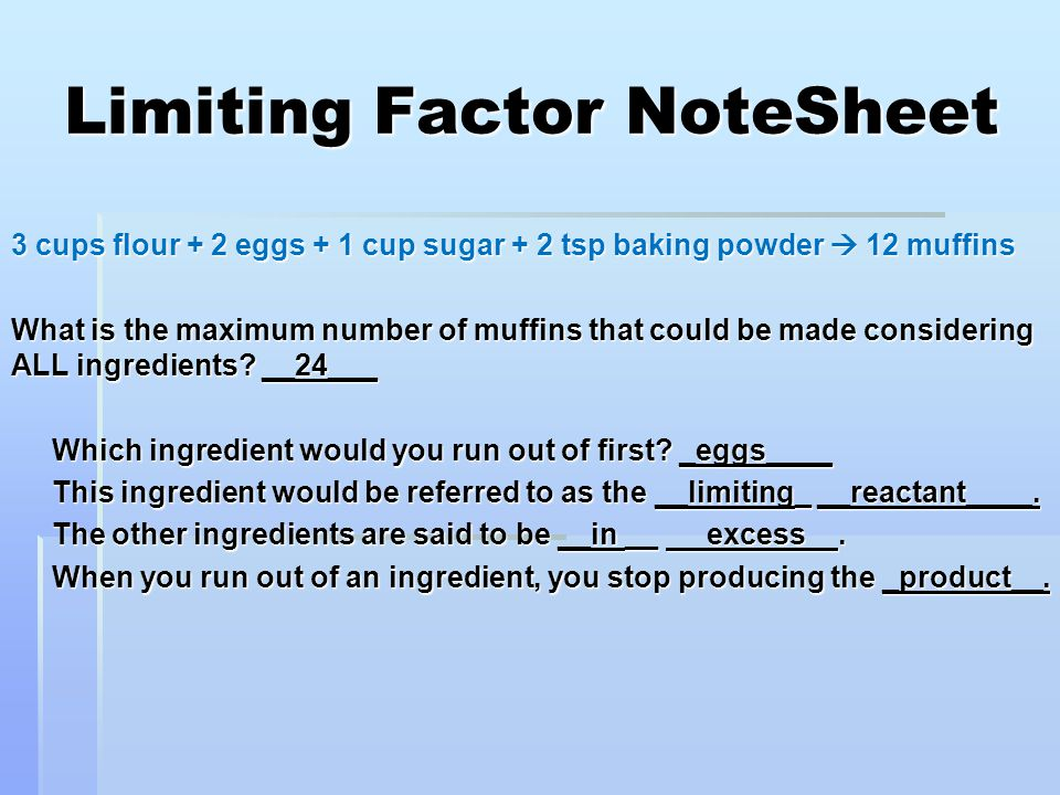 Limiting Factor NoteSheet