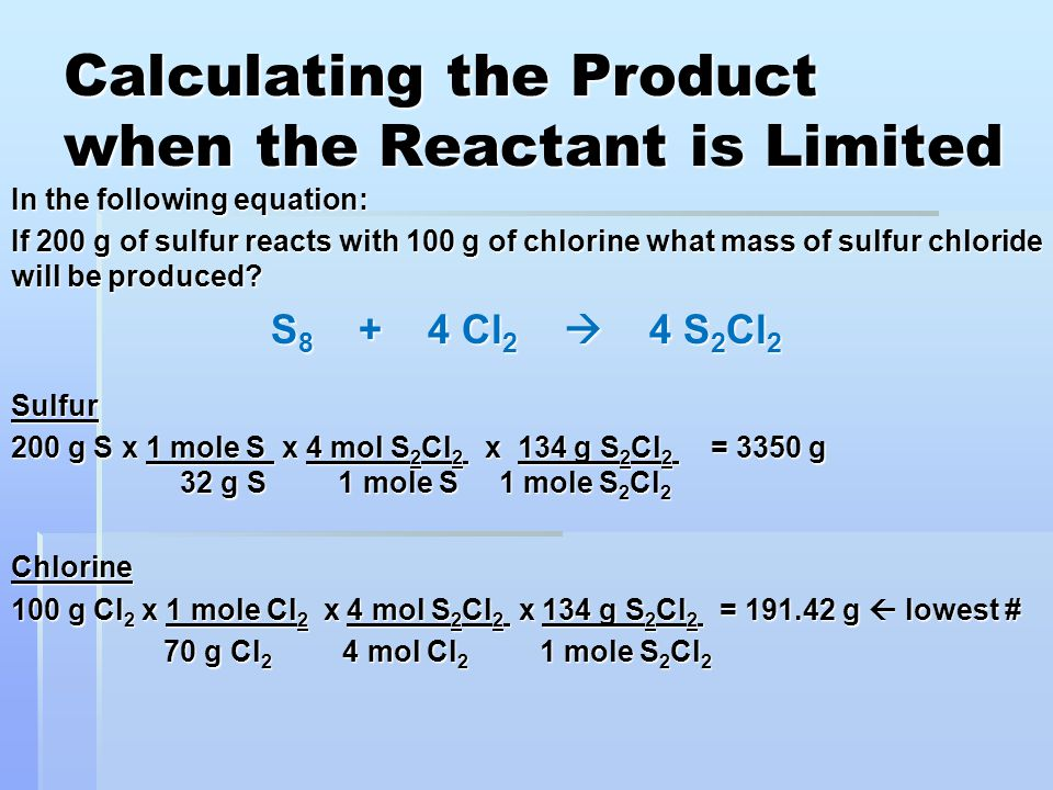 Calculating the Product when the Reactant is Limited
