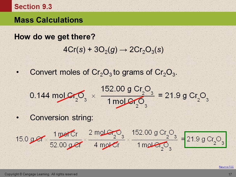 Convert moles of Cr2O3 to grams of Cr2O3.