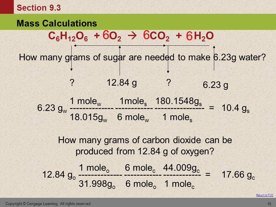 C6H12O6 + O2  CO2 + H2O 6. 6. 6. How many grams of sugar are needed to make 6.23g water