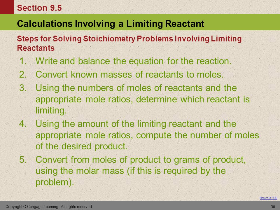 Steps for Solving Stoichiometry Problems Involving Limiting Reactants