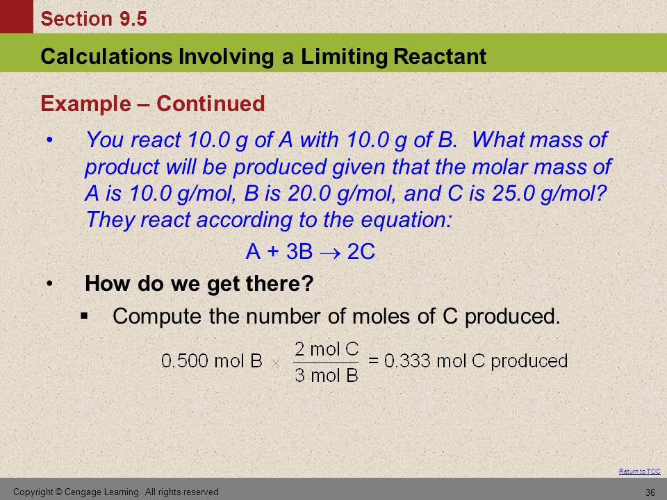 Compute the number of moles of C produced.