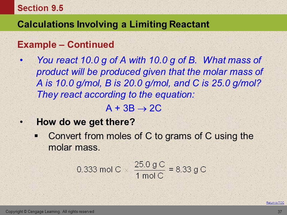 Convert from moles of C to grams of C using the molar mass.