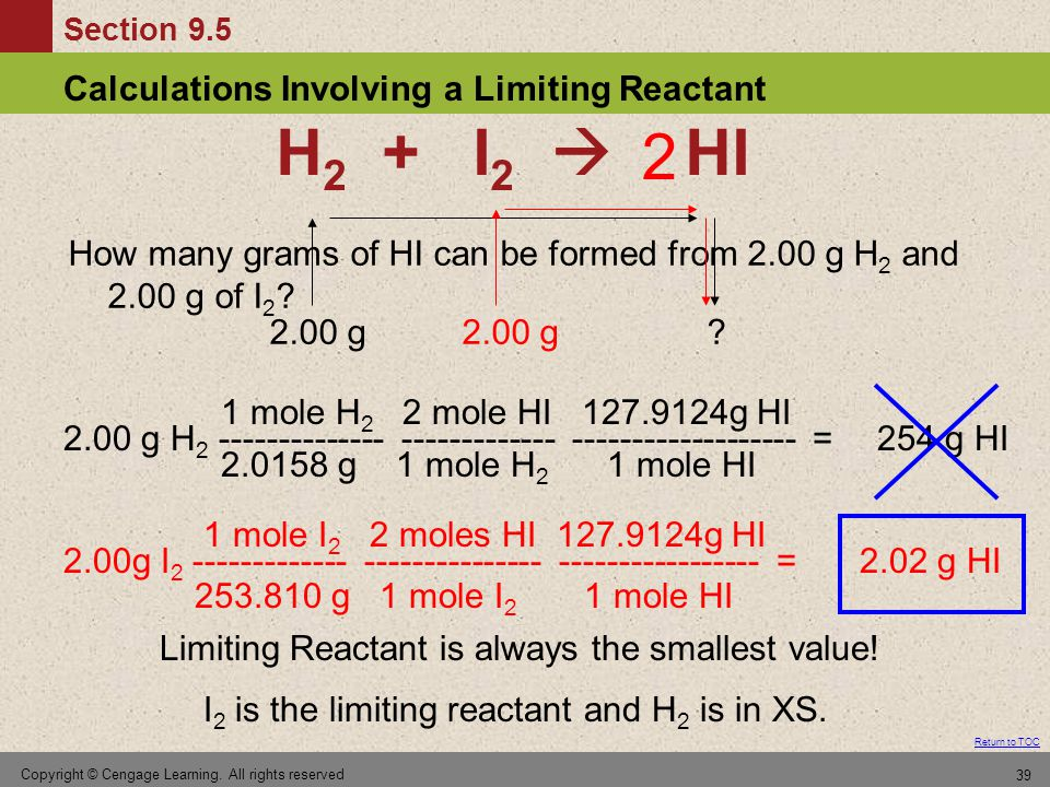 2 H2 + I2  HI. How many grams of HI can be formed from 2.00 g H2 and 2.00 g of I2 2.00 g.