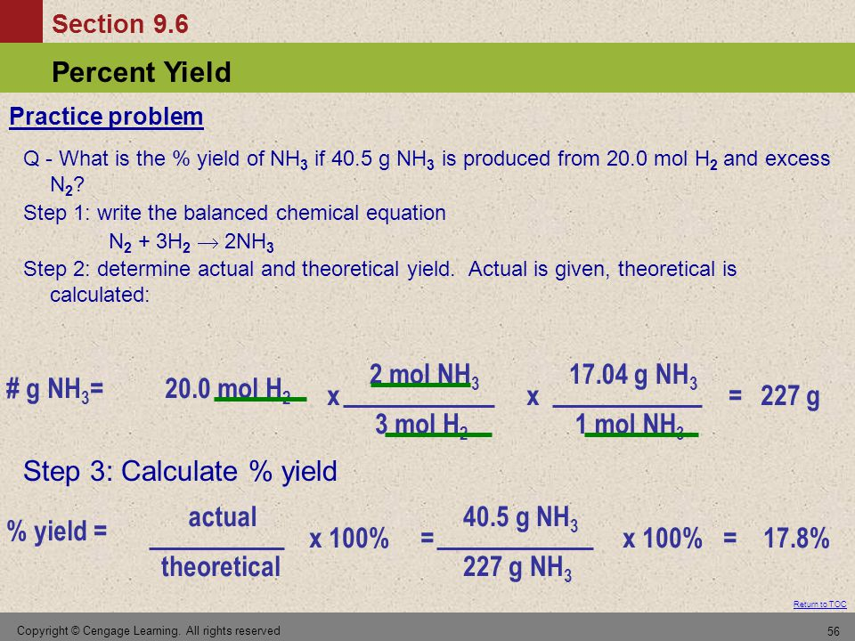 Step 3: Calculate % yield