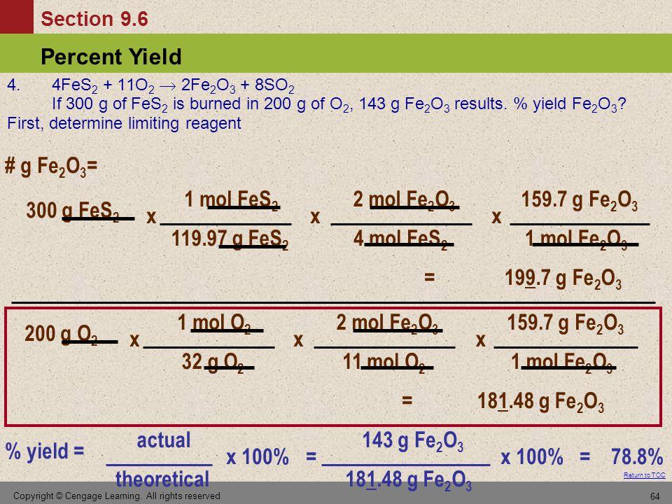# g Fe2O3= 1 mol FeS2 119.97 g FeS2 x 2 mol Fe2O3 4 mol FeS2 x