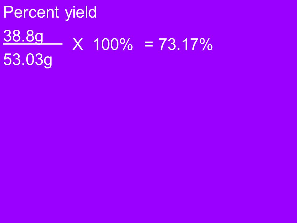 Percent yield 38.8g 53.03g X 100% = 73.17%