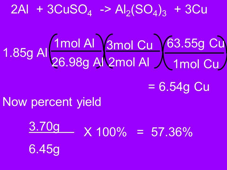 2Al + 3CuSO4 -> Al2(SO4)3 + 3Cu