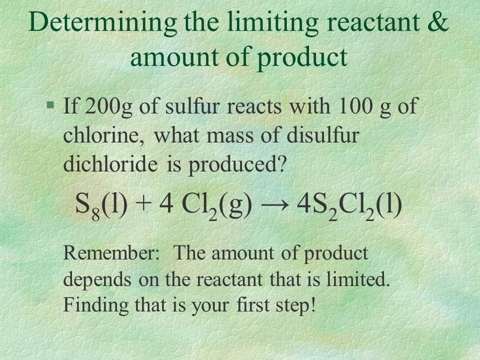 Determining the limiting reactant & amount of product