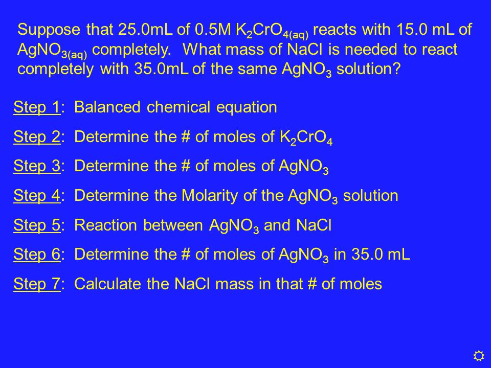 Suppose that 25. 0mL of 0. 5M K2CrO4(aq) reacts with 15