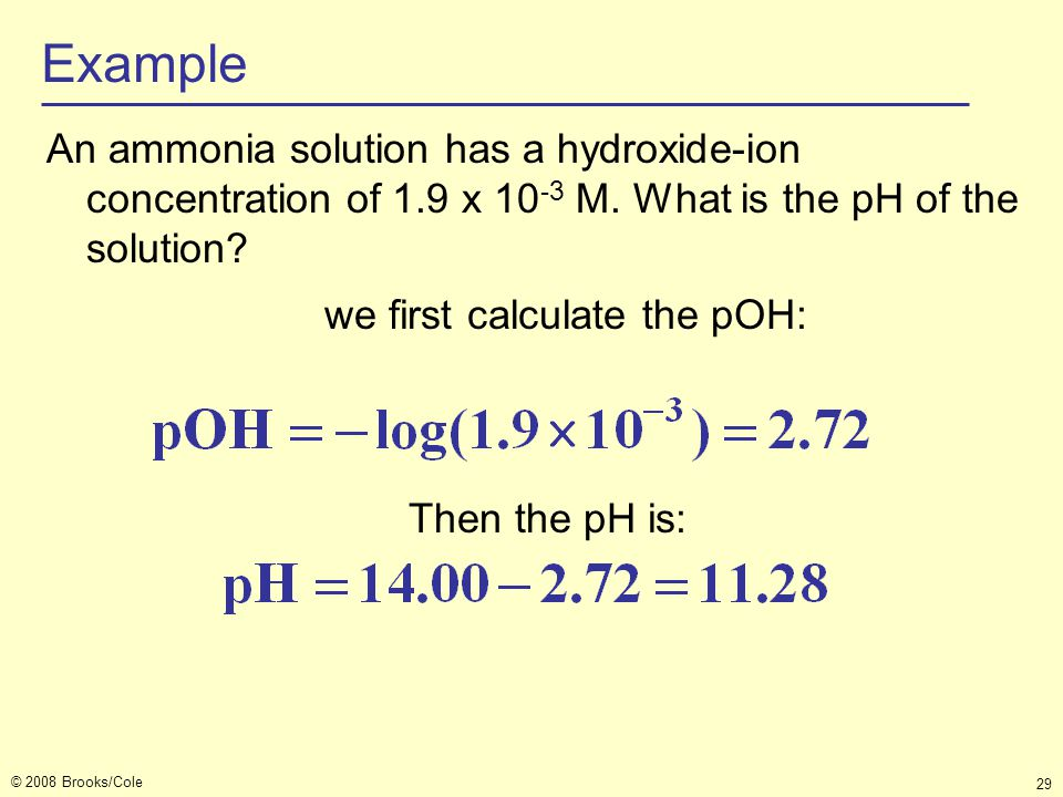 we first calculate the pOH: