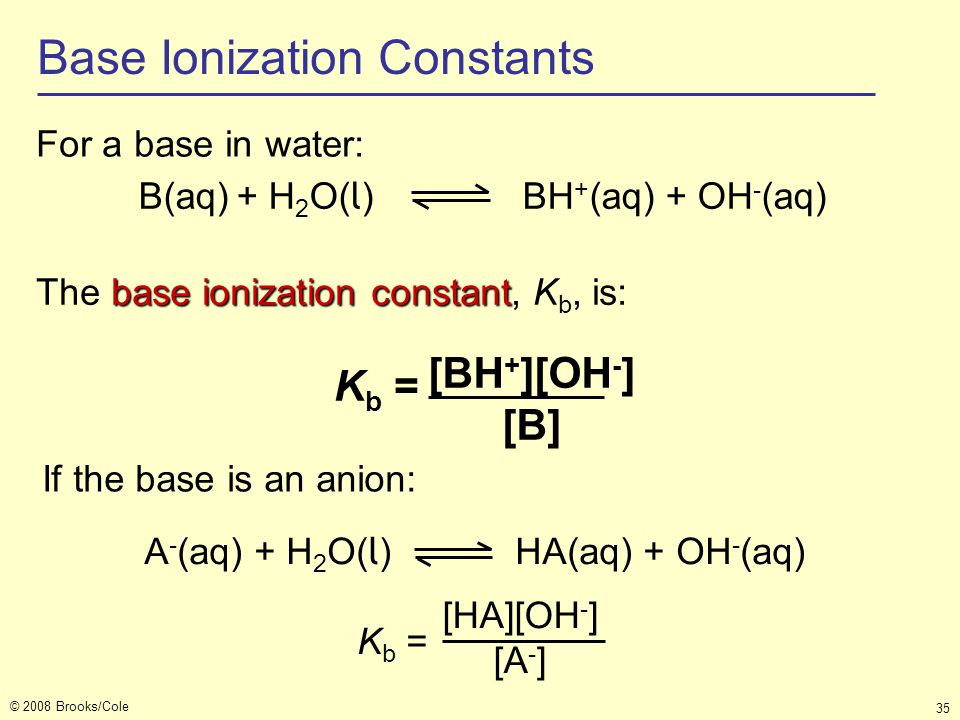 Base Ionization Constants