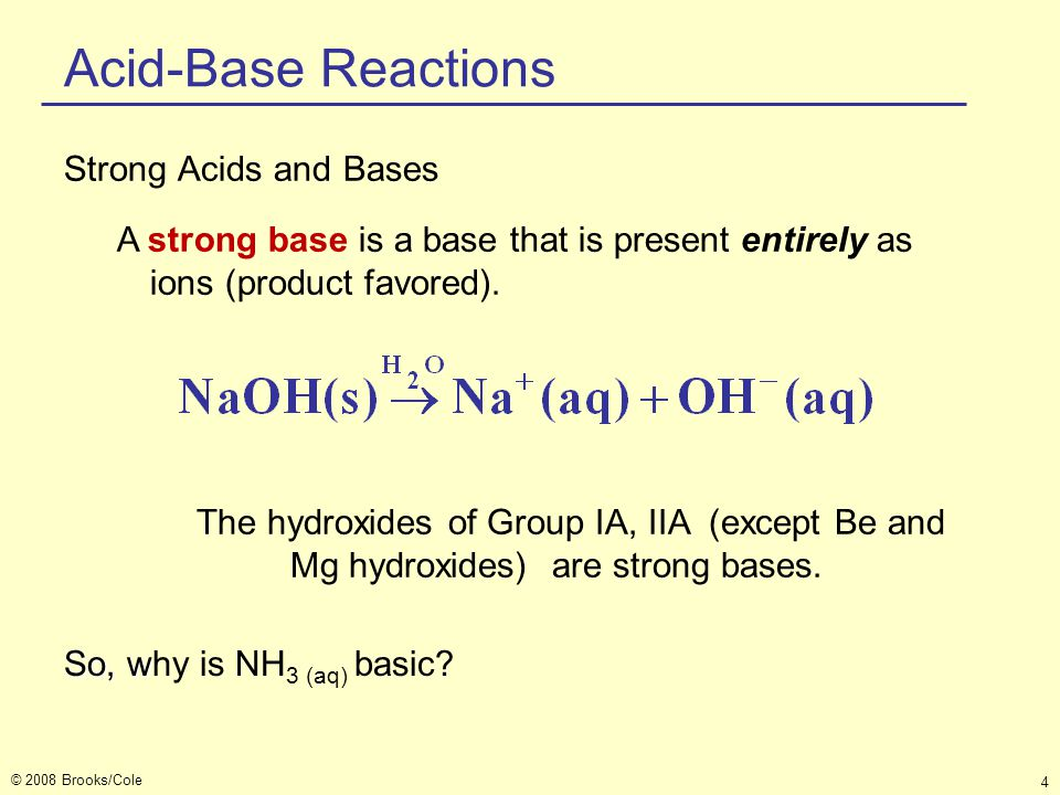 Acid-Base Reactions Strong Acids and Bases