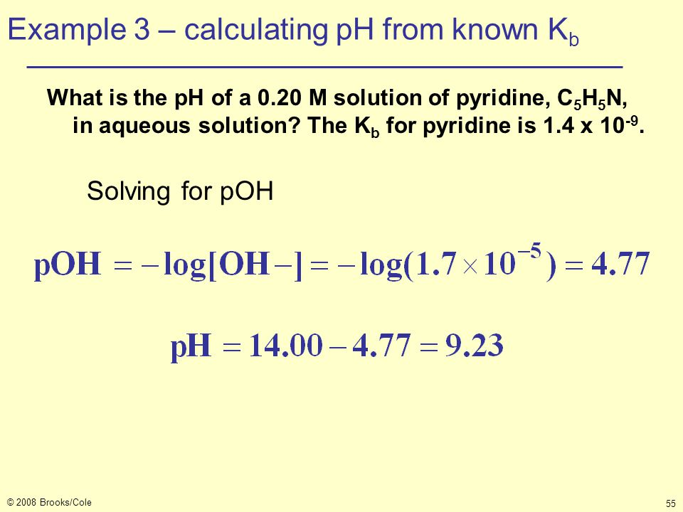 Example 3 – calculating pH from known Kb