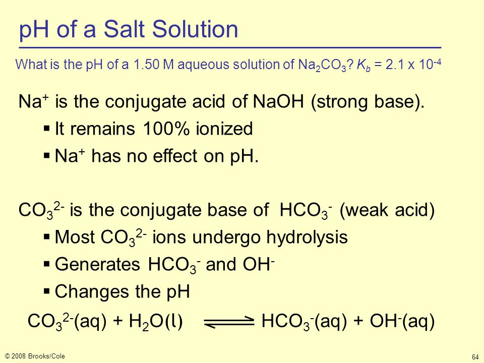 pH of a Salt Solution Na+ is the conjugate acid of NaOH (strong base).