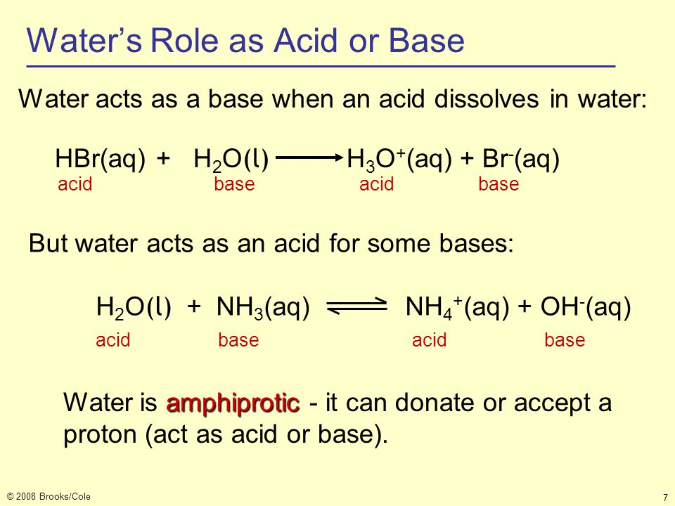 Water's Role as Acid or Base