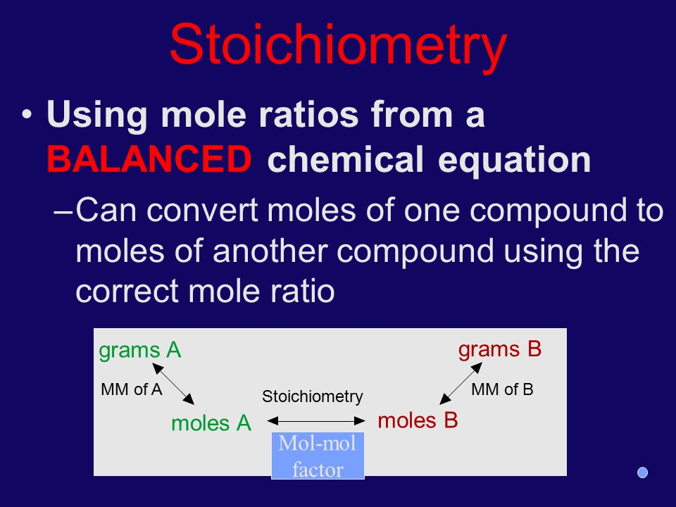 Stoichiometry Using mole ratios from a BALANCED chemical equation