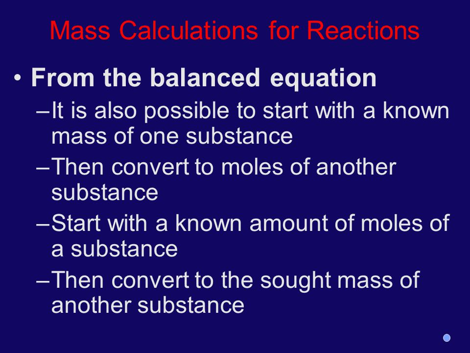 Mass Calculations for Reactions