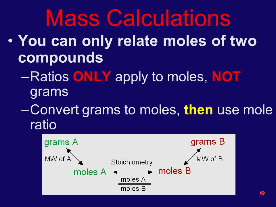 Mass Calculations You can only relate moles of two compounds