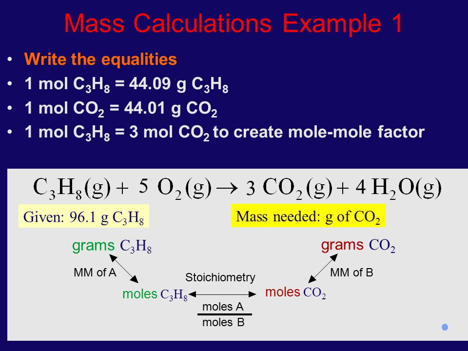 Mass Calculations Example 1