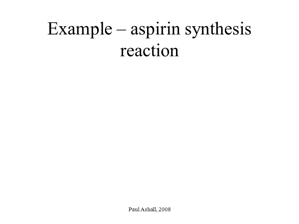 Example – aspirin synthesis reaction
