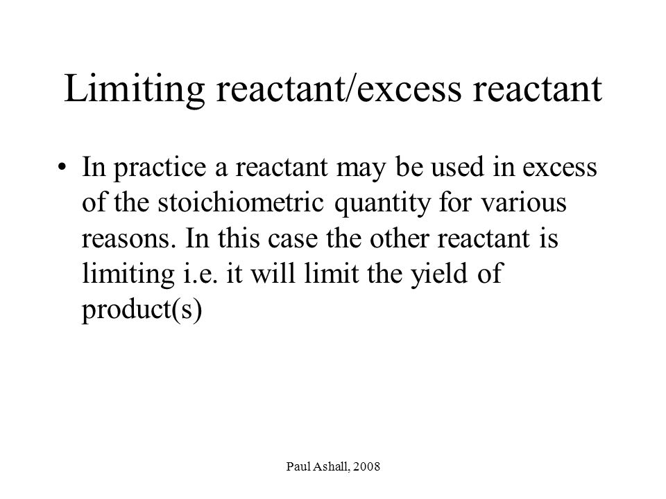 Limiting reactant/excess reactant