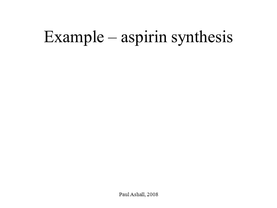 Example – aspirin synthesis