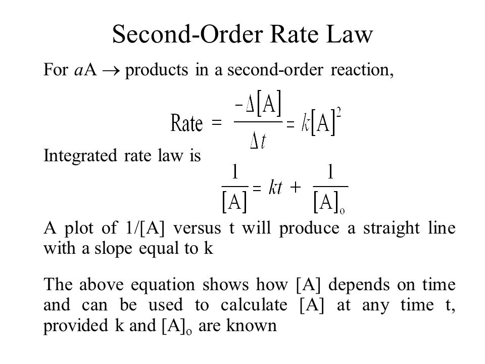 Second-Order Rate Law For aA  products in a second-order reaction,