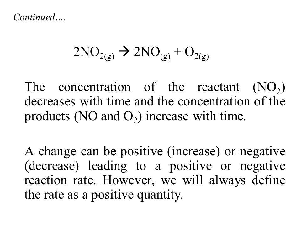Continued…. 2NO2(g)  2NO(g) + O2(g)