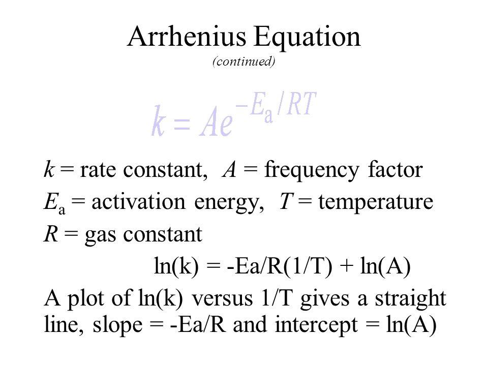 Arrhenius Equation (continued)