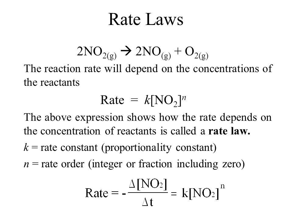 Rate Laws 2NO2(g)  2NO(g) + O2(g)
