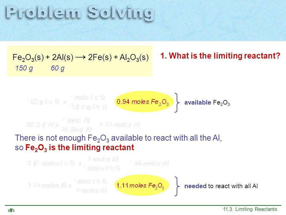 Fe2O3(s) + 2Al(s) → 2Fe(s) + Al2O3(s)