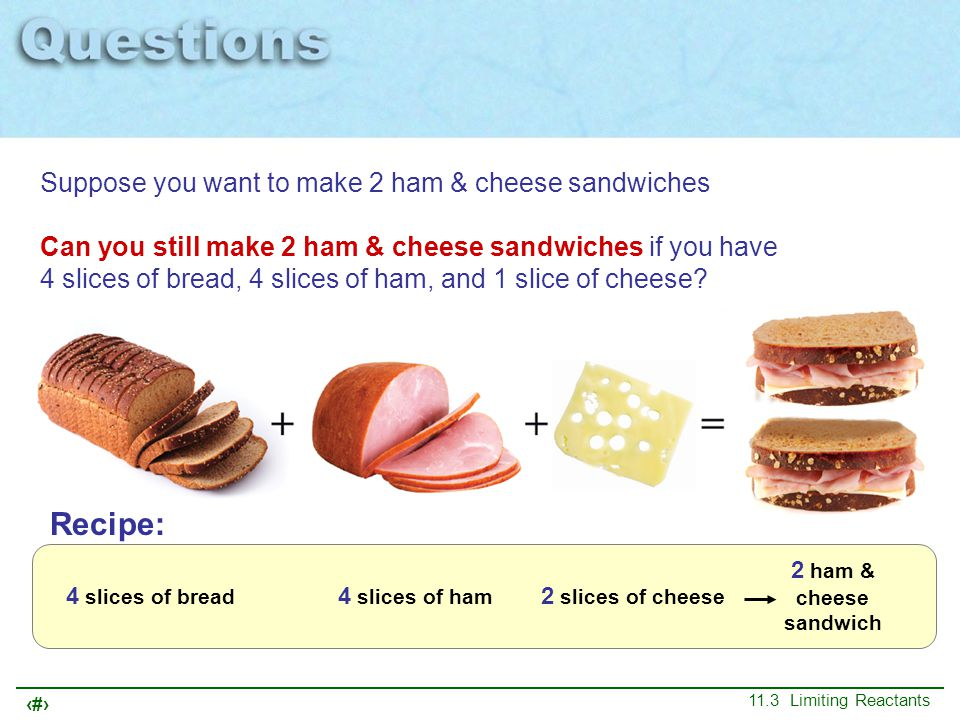 Recipe: Suppose you want to make 2 ham & cheese sandwiches
