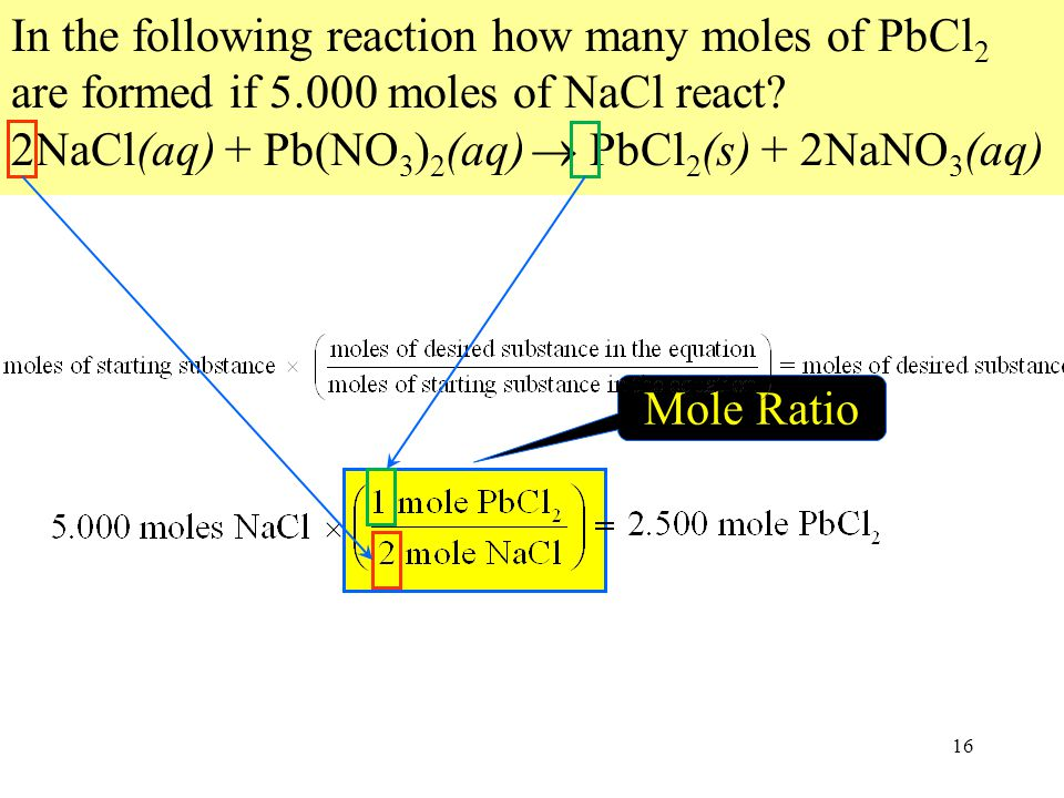 In the following reaction how many moles of PbCl2 are formed if 5