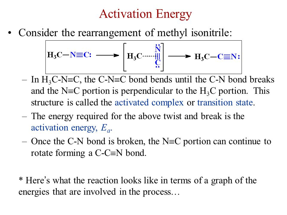 Activation Energy Consider the rearrangement of methyl isonitrile: