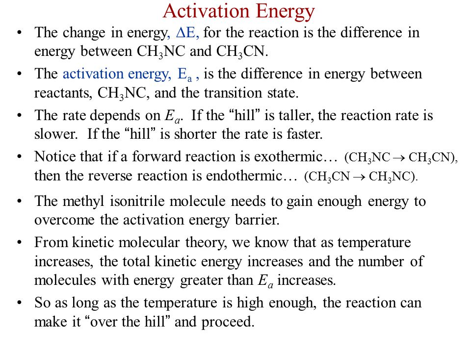 Activation Energy The change in energy, ∆E, for the reaction is the difference in energy between CH3NC and CH3CN.