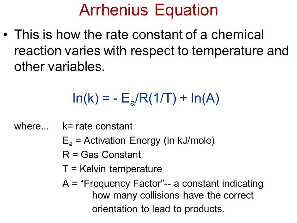 ln(k) = - Ea/R(1/T) + ln(A)