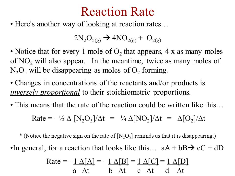Reaction Rate Here's another way of looking at reaction rates…