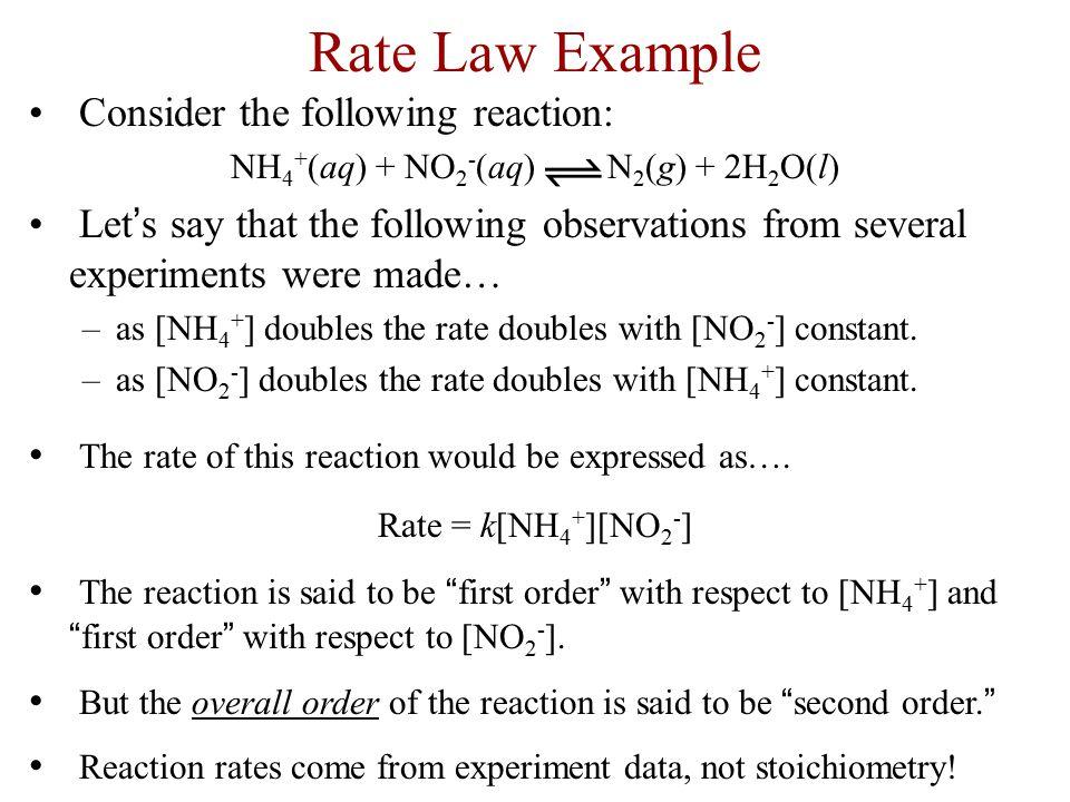 NH4+(aq) + NO2-(aq) N2(g) + 2H2O(l)