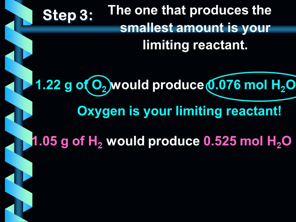 The one that produces the smallest amount is your limiting reactant.