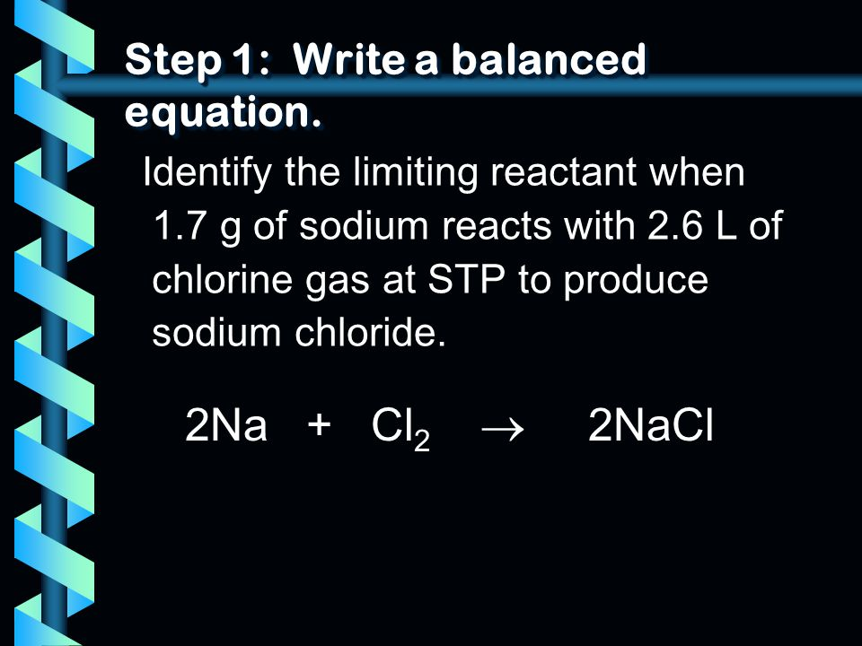 Step 1: Write a balanced equation.