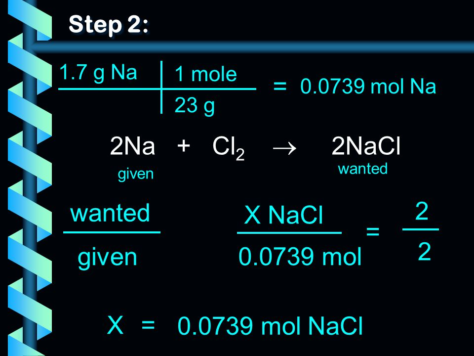 = 2Na + Cl2  2NaCl wanted 2 X NaCl = 2 given 0.0739 mol X =