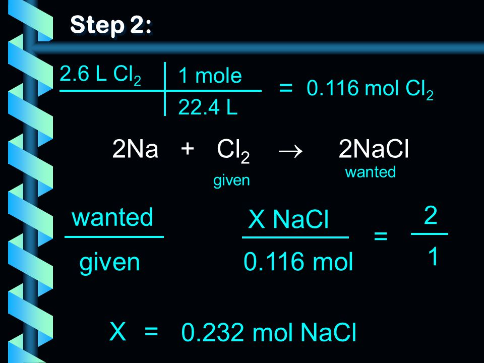 = 2Na + Cl2  2NaCl wanted 2 X NaCl = 1 given 0.116 mol X =