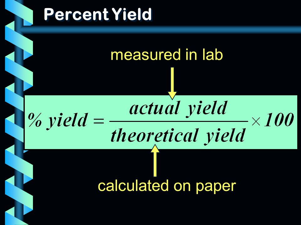 Percent Yield measured in lab calculated on paper