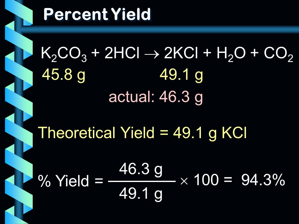 Percent Yield K2CO3 + 2HCl  2KCl + H2O + CO2 45.8 g 49.1 g