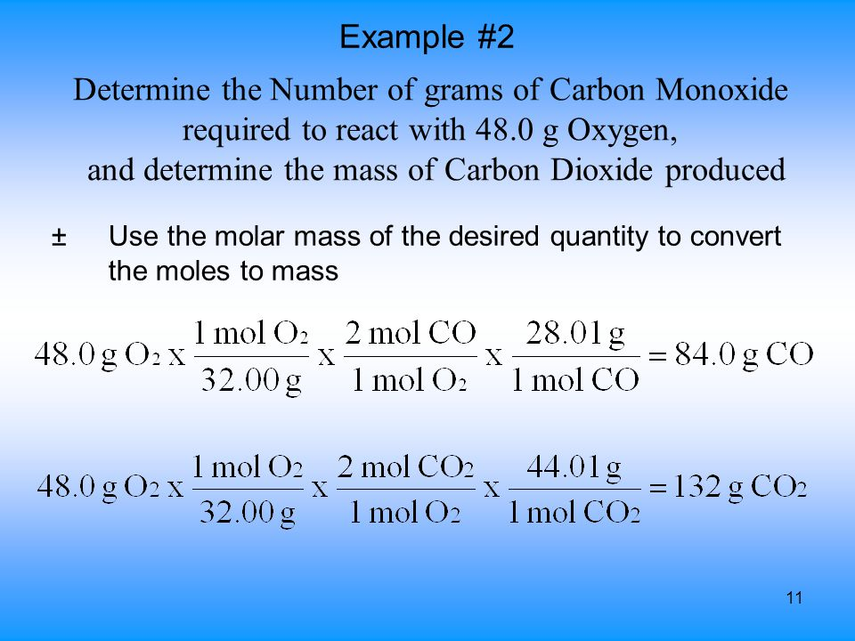Determine the Number of grams of Carbon Monoxide